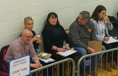 Sinn Fein candidate for Fermanagh South Tyrone, Michelle Gildernew, has arrived at Omagh Leisure Complex.  Picture: Ronan McGrade/Pacemaker Press