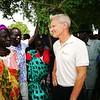 Secretary general of NRC, Jan Egeland, watching food drop and meeting idps receiving food distribution from NRC and WFP.<br /> Photo: Tuva Raanes Bogsnes/NRC <br /> <br /> <br /> sdr
