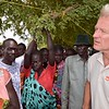 Jan Egeland talking to displaced people in Mayom, Unity state, South Sudan