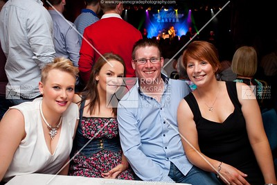 Alice Elgar, Donna Brennan, Francis Rooney & Nicole Brennan enjoy the craic as Nathan Carter plays on stage in the background.
