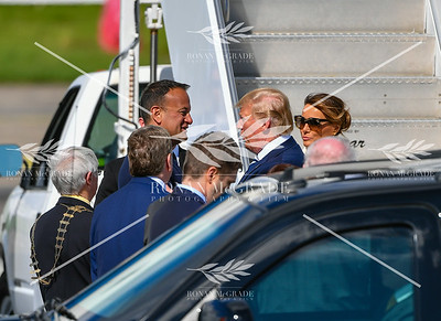 PACEMAKER PRESS 05/06/2019: US President Donald Trump and his wife, First Lady Melania Trump, are greeted by Taoiseach Leo Varadkar and officials at Shannon Airport, Co Clare, Ireland.  Picture: Ronan McGrade/Pacemaker Press