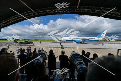 PACEMAKER PRESS 05/06/2019: Air Force One carrying US President Donald Trump and his wife, First Lady Melania Trump, arrives at Shannon Airport, Co Clare, Ireland.  Picture: Ronan McGrade/Pacemaker Press