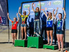 JV girls podium for race #4. Isabella Krompegel-Anliker (Poudre) 1st place; Ellie Welshon (Green Mountain) 2nd; Elizbeth Curvin (3rd); Johanne Albrigsten (Fairview) 4th; Kate Berreman (Lyons) 5th. Photo Clark Hodge.