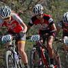 Varsity girls work together. Ksenia Lepkihina, 003, Fairview, Kaylee Blevins, 005, Durango, Laurel Rathbun, 001, Highlander Composite. Photo Robinson Noble.