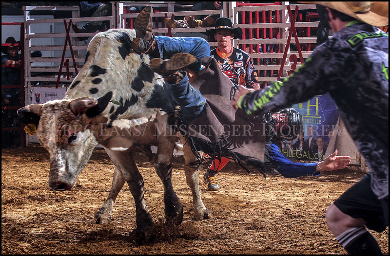 Menno Gingerich from Columbia, Ky, is tossed off a bull as he competes during the Southern Extreme Bull Riders Association's Bull Bash at the Owensboro Sportscenter on Saturday, Feb. 17, 2018, in Owensboro, Ky. (Greg Eans/The Messenger-Inquirer via AP)