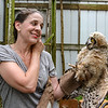 Photo by Greg Eans, Messenger-Inquirer.com | geans@messenger-inquirer.com<br /> <br /> Kristin Allen, director of the Western Kentucky Raptor Center, holds a great horned owl that she is rehabilitating at the center's location at Yellow Creek Park.