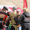Katja Freeburn (Durango High) and Anna Martin (Vail Valley Composite) are congratulated at the end of the Girls JV race. Photo Leslie Farnsworth-Lee.