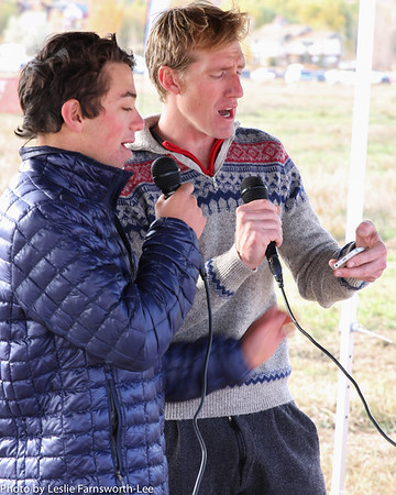 Bryce Gordon, Durango Sophomore, and Garrett Alexander, Animas Head Coach sang the national anthem before the start of the race Sunday morning. Photo Leslie Farnsworth-Lee.