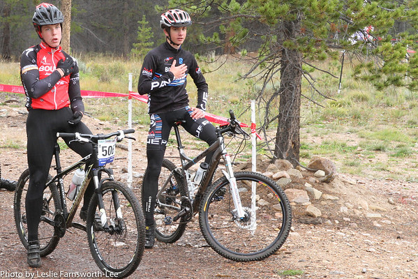 Racers pause for the National Anthem performed by Aarika Johnson, Leadville, JV racer. Photo Leslie-Farnsworth-Lee.