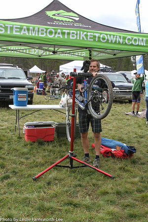 Steamboat Coach Scott Myller makes sure bikes are race ready. Photo Leslie Farnsworth-Lee.
