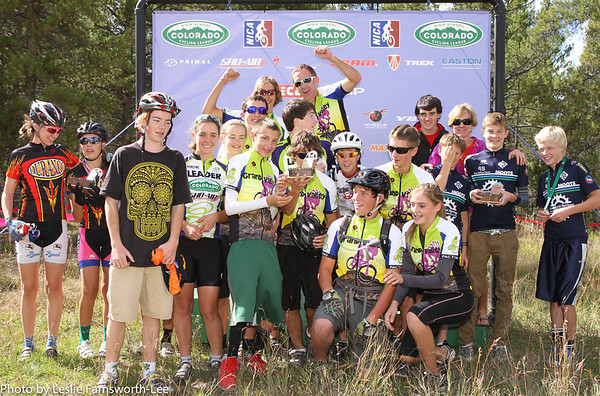 Division 2 Team podium from Race 1 presented in Leadville, Grand Valley 1st, Durango 2nd, and Steamboat 3rd. Photo Leslie Farnsworth-Lee.