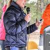 Aarika Johnson, Leadville JV racer sings the National Anthem acapella. Photo Leslie Farnsworth-Lee.