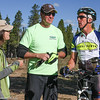 Bruce Kelly, Leadville Coach (far right) prepares to mark the Cloud City Challenge course with, Max Bradley, Chief Course Setter and Colorado League President. Photo Leslie Farnsworth-Lee.
