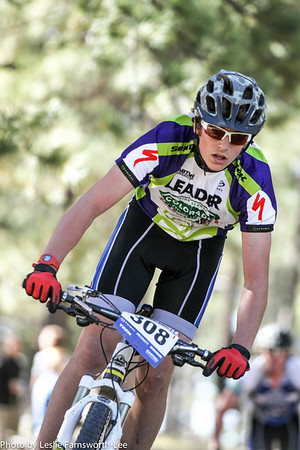 Kai Sherman, (308) Crested Butte, focuses on a technical section before finishing 3rd for JV D2. Photo Leslie Farnsworth-Lee.
