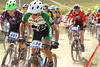 Cameron Eng (644), Highlands Ranch, and Cole Glaser (641), Fort Collins sprint off the start. Photo Leslie Farnsworth-Lee.