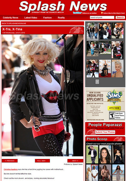 CHRISTINA AGUILERA  <br /> SPLASH NEWS 6.9.10