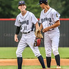 Photo by Greg Eans, Messenger-Inquirer.com | geans@messenger-inquirer.com<br /> <br /> Owensboro Post 9 Bombers' Jacob White, left, and pitcher Blaine Gillim have a pep talk between innings  during a game against Newburgh at Shifley Park's Jack Hicks Field.