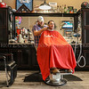 Photo by Greg Eans, Messenger-Inquirer.com | geans@messenger-inquirer.com<br /> <br /> Jacques White gets a trim from barber Ramey Brown at Riverwalk Razor.