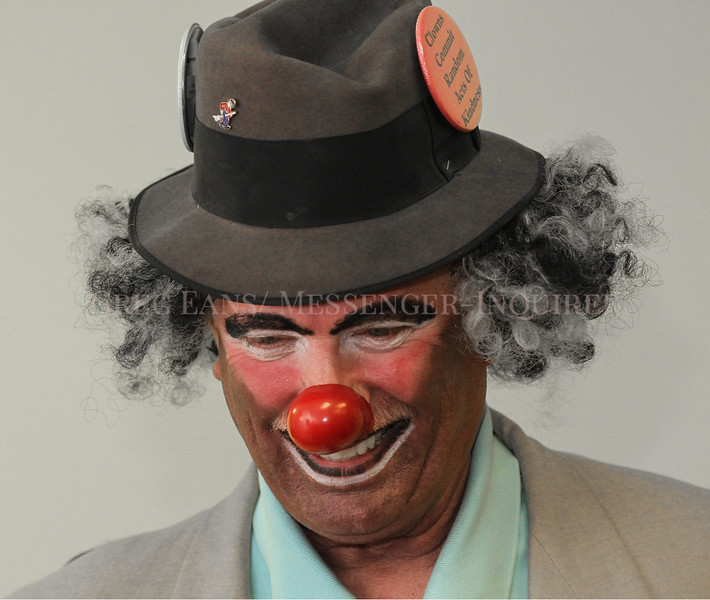 """Photo by Greg Eans, Messenger-Inquirer.com/geans@messenger-inquirer.com<br /> <br /> Owensboro Shriner Jerry Maggard has a laugh while fully made up as his clown character, """"Shabby,"""" at the Masonic Building on St. Ann Street in Owensboro, Ky."""