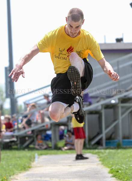 Photo by Greg Eans, Messenger-Inquirer.com/geans@messenger-inquirer.com<br /> <br /> Zachary Lindsey with the Daviess County team participates in the long jump event during the Special Olympics Kentucky Area 2 Spring Games held on the track at College View Middle School. Lindsey is a pentathlon athlete and participated in five events during the games.