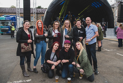 Leona Connolly, second from right at back, celebrated her birthday with friends at Shoreline Festival.  Photo by Ronan McGrade