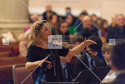 Carina Ferguson conducting the choir at the St Michael's carol service.  Picture: Ronan McGrade