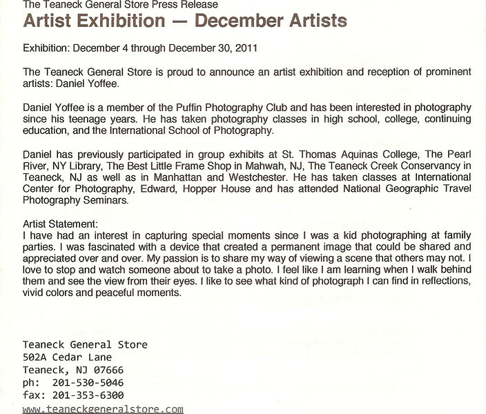 Teaneck General Store - Press Release Dec2011