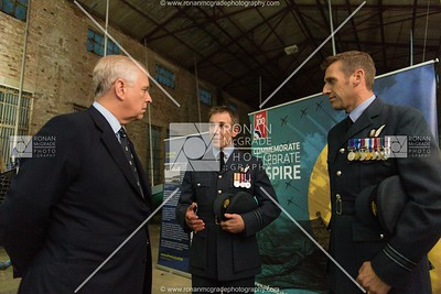 HRH the Duke of York speaking with members of RAF 100 Squadron at a former RAF hangar at Lough Erne Yacht Club.  Picture: Ronan McGrade
