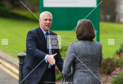 Lady Brookeborough welcomes the Duke of York to Belleek.  Picture: Ronan McGrade.