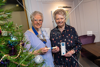 Agnes McFarland, President Fermanagh WI with Mabel Black who made the scrolls for their dinner evening at the Killyhevlin. Picture: Ronan McGrade