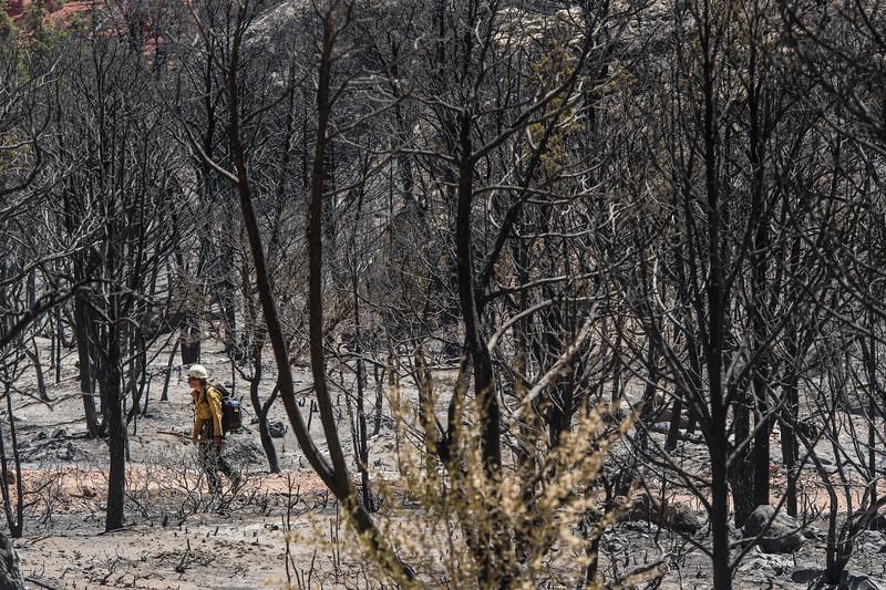 Firefighters work the scene of the Dry Canyon Fire near Parowan Thursday, June 28, 2018.