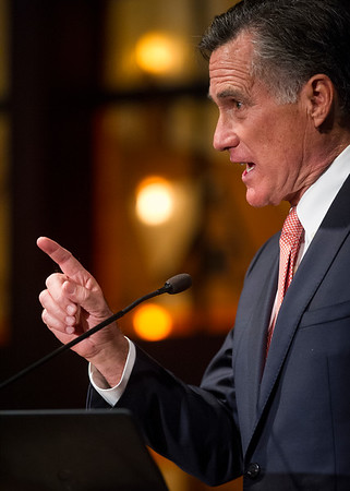 U.S. senate candidate Mitt Romney addresses guests during the Iron County Republicans Lincoln Day Dinner at Southern Utah University Thursday, February 22, 2018. Romney spoke of having the experience needed for working in the senate, and his desire to limit government over reach and spending.