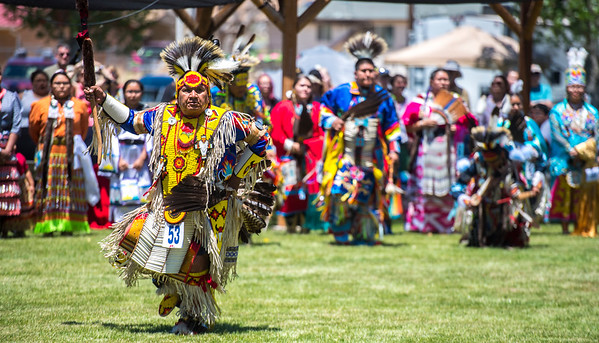 Members of the Paiute tribe compete for cash prizes during the dance competition powwow at the 38th annual Restoration Gathering Saturday, June 9, 2018. Each of the five bands that make up the Paiute tribe were represented, organizing different aspects of the weekend's festivities.