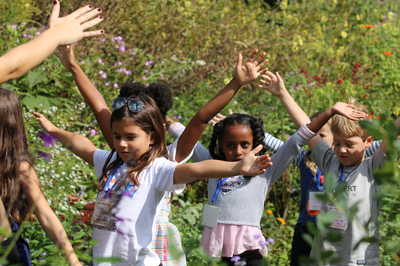 Students from Hyde-Addison Elementary School in the Herbaceous Borders of the garden, October 2016
