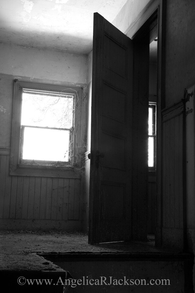 """""""Portals"""" (Black & White)<br /> This is the door at the top of the staircase pictured in """"Nautilus""""<br /> April 2013"""