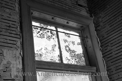"""Air Passage"" (Black & White) Transom and doorframe in a stripped, 3rd floor room. April 2013"