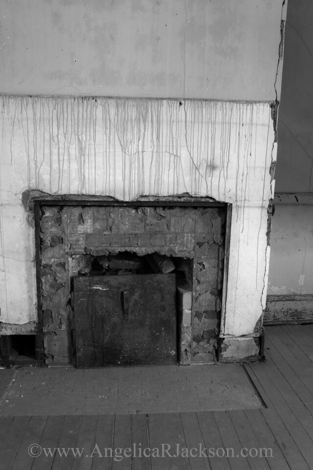 """""""Bricked"""" (Black & White)<br /> An example of a fireplace with the mantel removed--probably during the free-for-all after the school closed and the public was invited to take fixtures.<br /> April 2013"""