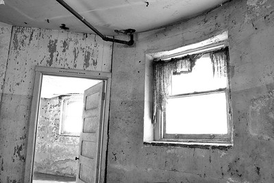 """Livingstone: Skewed"" (Black & White) Basement of Preston Castle April 2013"