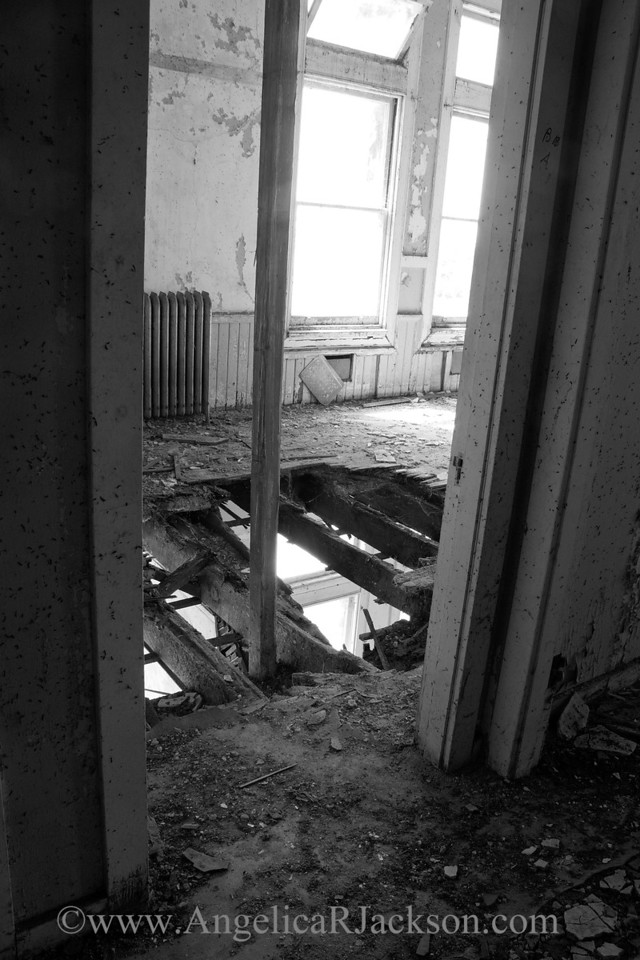"""""""Floor Drop"""" (Black & White)<br /> With a damaged roof, the upper floors were basically exposed to the elements.<br /> April 2013"""