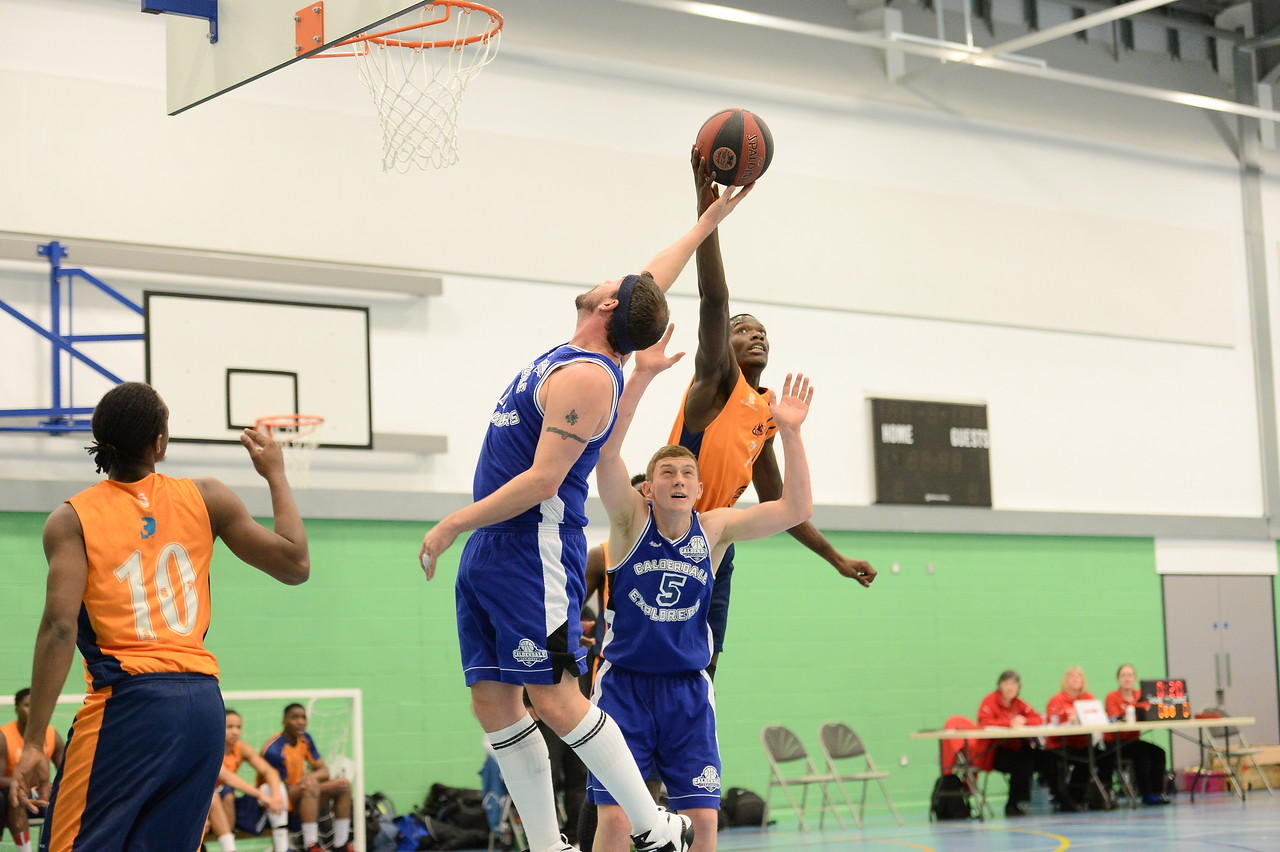 HALIFAX, ENGLAND:  Preston's Melkisedek Moreaux tries to secure the rebound during his side's away game against Calderdale Explorers at The Inspire Centre, Halifax on 21st December 2015.