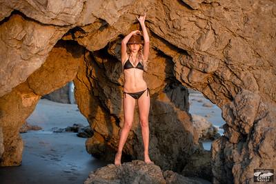 Pretty Blonde Bikini Swimsuit Model in Malibu Sea Cave!  Nikon D800 Photos!