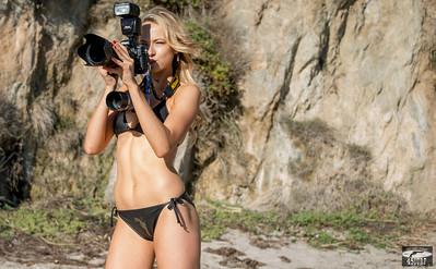 Pretty Blonde Swimsuit Bikini Model shooting Stills (Nikon D800) & Video (Sony NEX-6 F/1.8 50mm Prime)