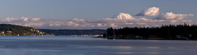 Panoramic view of Mt. Rainier from the Fox Island bridge.