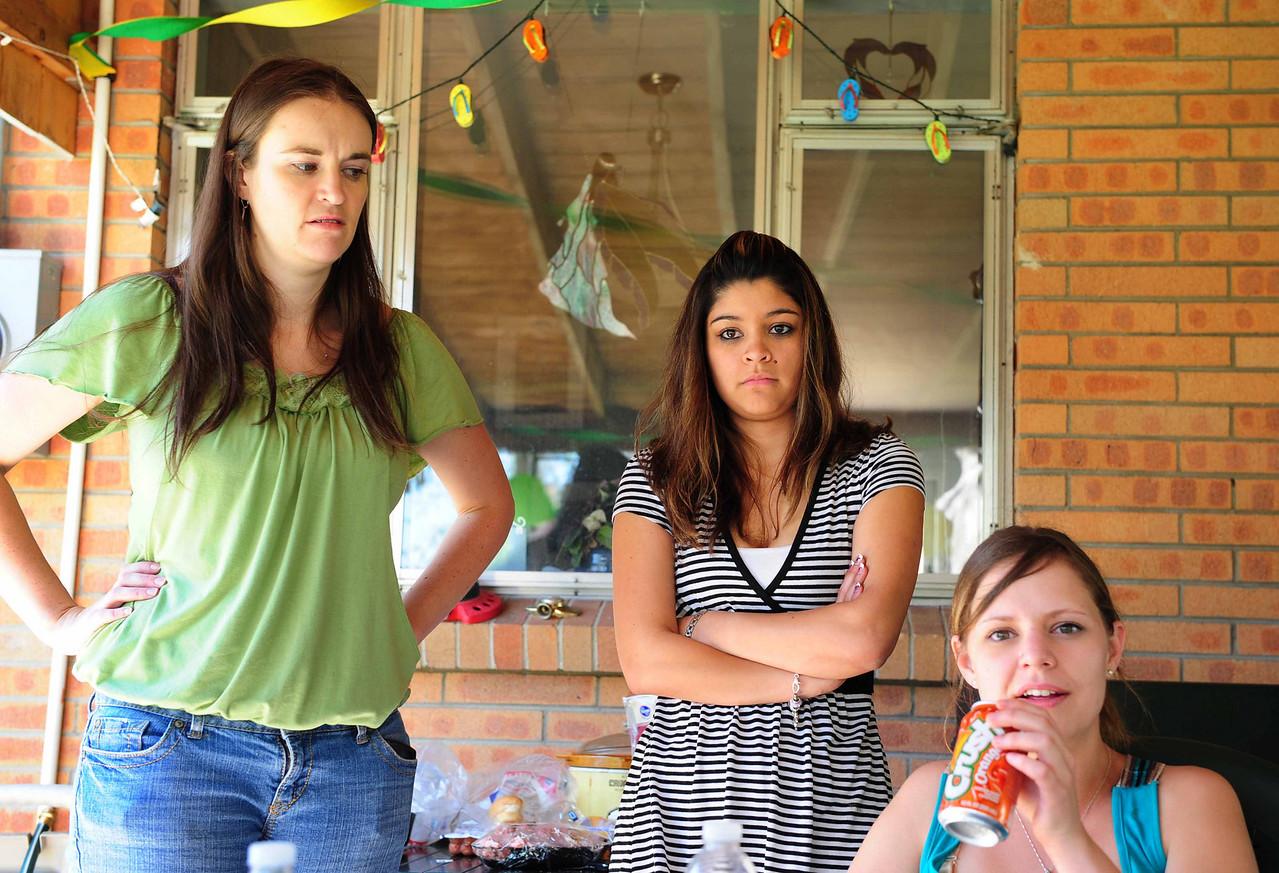 Hmm . . . looking a wee bit grouchy! <br /> Crystal, Stephanie, Kristie