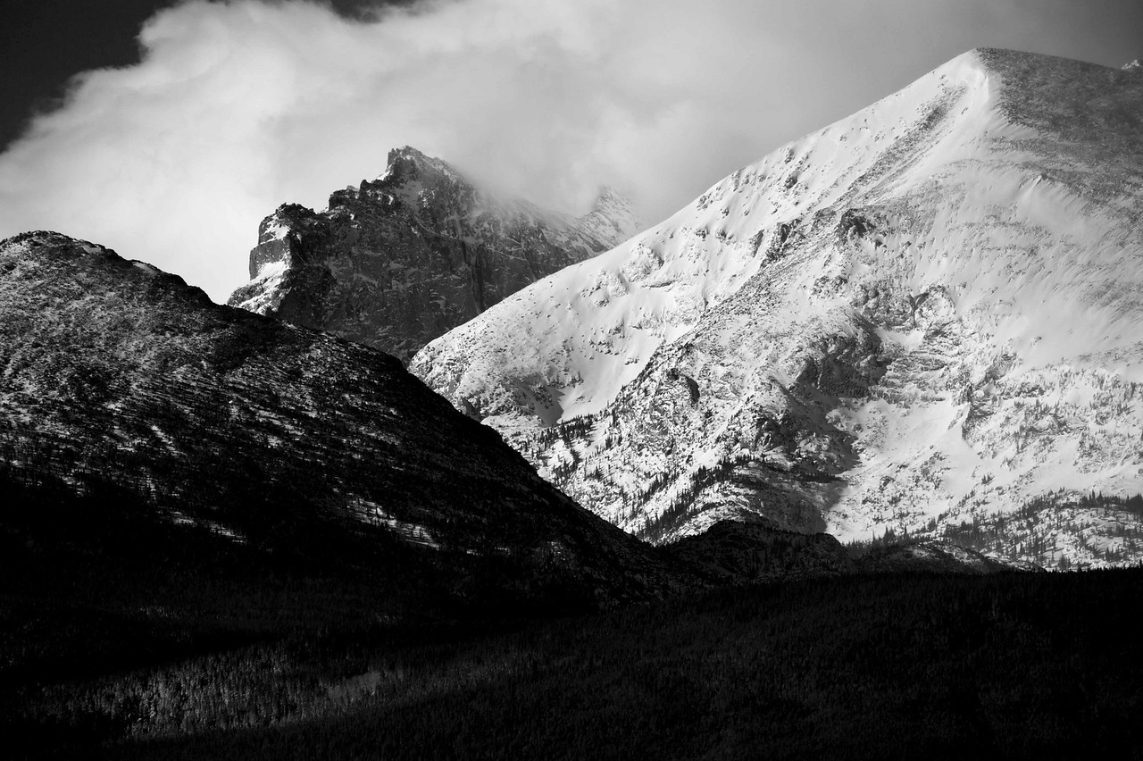 Detail below Long's Peak - B&W