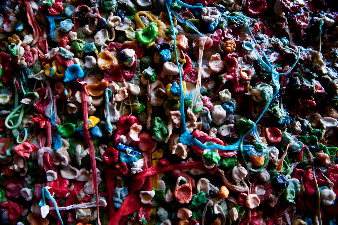 The Gum Wall - Public Market, Pike Street<br /> A very odd phenomenon indeed!