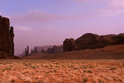 Monument Valley - drove the loop in the late afternoon, sky was filled with pink dust from the sand.  Not the iconic sky one would always like in the desert southwest, but lovely indeed.
