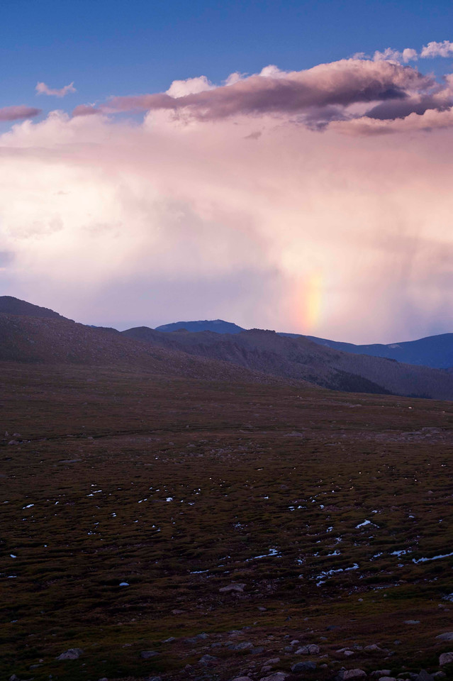 My favorite area to shoot - the circque in and around Summit Lake.  Beautful rainbow in and out of the the evening storm clouds.