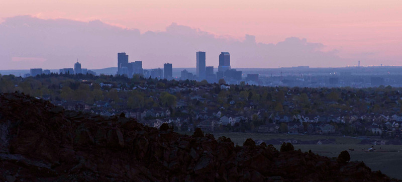 Denver sunrise, from Mount Falcon near Red Rocks