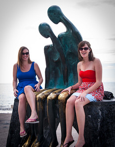 Enjoying the sculpture an the Malcon; Crystal and Rachelle